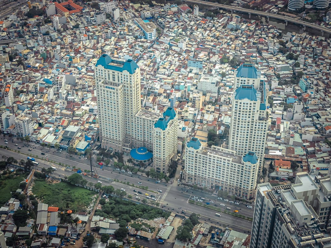 An aerial view of a city